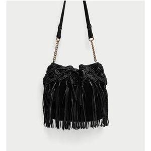 Black braided fringe leather bucket bag